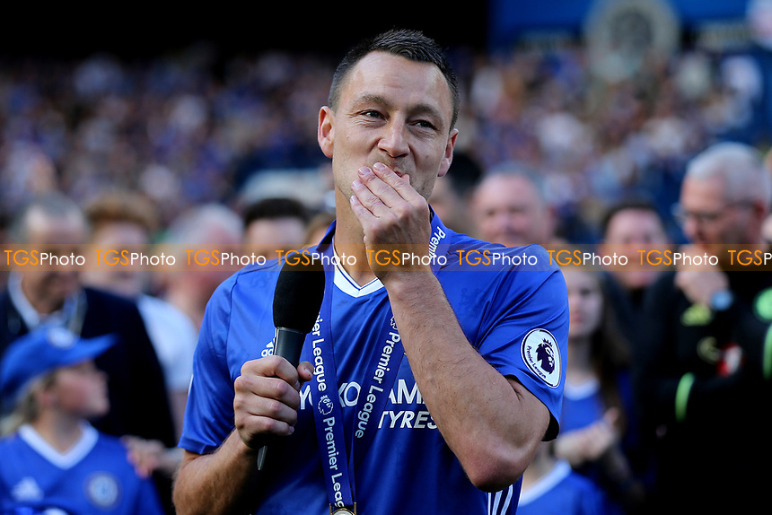 Chelsea's John Terry begins his emotional farewell speech on the pitch after the Trophy celebrations during Chelsea vs Sunderland AFC, Premier League Football at Stamford Bridge on 21st May 2017