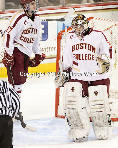 Destry Straight (BC - 17), Chris Venti (BC - 30) - The Boston College Eagles defeated the Providence College Friars 7-0 on Saturday, February 25, 2012, at Kelley Rink at Conte Forum in Chestnut Hill, Massachusetts.