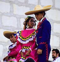 mexican Flamingo dance in traditional costume in Santa Barbera California, USA