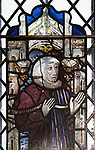 Medieval stained glass window, Holy Trinity church, Long Melford, Suffolk, England - Sir William Howard, Chief Justice of England died 1309