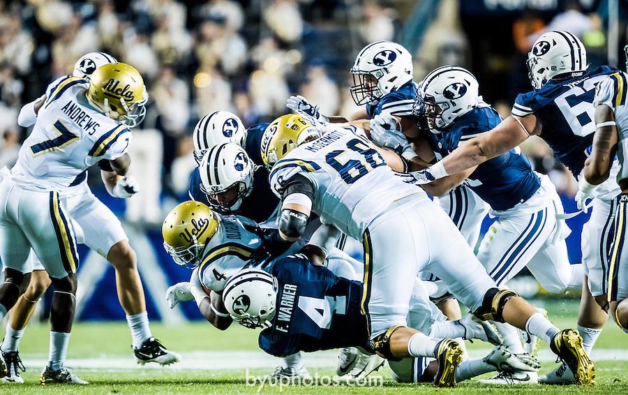 16FTB vs UCLA 0213<br /> <br /> 16FTB vs UCLA<br /> <br /> BYU Football vs UCLA<br /> <br /> BYU-14<br /> UCLA-17<br /> <br /> September 17, 2016<br /> <br /> Photo by Jaren Wilkey/BYU<br /> <br /> © BYU PHOTO 2016<br /> All Rights Reserved<br /> photo@byu.edu  (801)422-7322