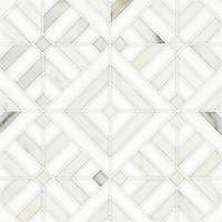 Laberinto Grand, a handmade mosaic shown in honed Thassos and polished Calacatta. Designed by Paul Schatz for New Ravenna.
