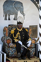 Africa ZAMBIA Barotseland , Zambezi floodplain , Kuomboka ceremony in Limulunga, the Lozi king Lubosi Imwiko II. also called Litunga, change his residence after raining time with the royal bark Nalikwanda  to his palace in Limulunga, Litunga at his throne