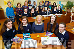 Presentation Secondary school students who are competing in the upcoming National Science Olympiad.  L-r, Rebecca Hayes, Ciara O'Mahoney, Chrissie Kelly (Deputy Principal), Lia O'Connell and Rachael O'Sullivan.