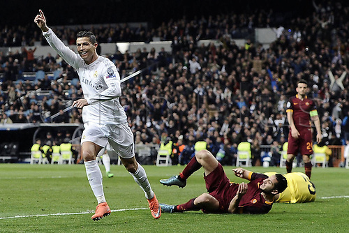 08.03.2016 Estadio Santiago Bernabeu, Madrid, Spain. UEFA Champions League Real Madrid CF versus AS Roma. Last 16 second leg match in Madrid.  Goal celebrations from Cristiano Ronaldo