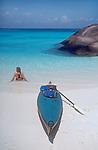Thailand, Similan Islands National Park, kayaking to the perfect beach, sea kayaker, Susan Johnston, Thailand's west coast, Andaman Sea, Indian Ocean.