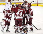 James Marcou (UMass - 19), T.J. Syner (UMass - 14), Justin Braun (UMass - 27), Casey Wellman (UMass - 7) - The Boston College Eagles defeated the University of Massachusetts-Amherst Minutemen 6-5 on Friday, March 12, 2010, in the opening game of their Hockey East Quarterfinal matchup at Conte Forum in Chestnut Hill, Massachusetts.
