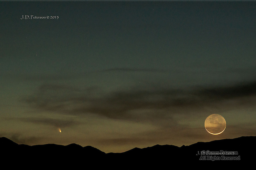 Comet Pan-STARRS with Crescent Moon, Panamint Mountains, Death Valley, March 12, 2013