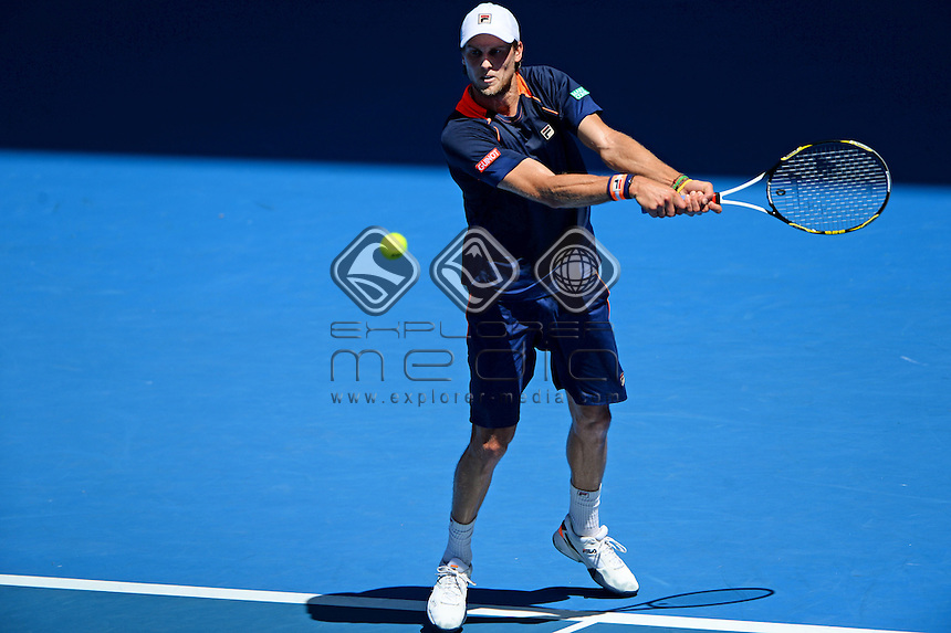 Andreas Seppi (ITA) takes out Roger Federer in their rd 3 clash  <br /> 2015 Australian Open Tennis / Day 5<br /> Grand Slam of Asia Pacific<br /> Melbourne Park, Vic Australia<br /> Friday 23 January 2015<br /> &copy; Sport the library / Jeff Crow