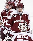 T.J. Syner (UMass - 14), Colin Shea (UMass - 8) - The Boston College Eagles defeated the visiting University of Massachusetts-Amherst Minutemen 2-1 in the opening game of their 2012 Hockey East quarterfinal matchup on Friday, March 9, 2012, at Kelley Rink at Conte Forum in Chestnut Hill, Massachusetts.