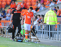 Blackpool's Daniel Philliskirk leaves the field due to injury<br /> <br /> Photographer Kevin Barnes/CameraSport<br /> <br /> Football - The EFL Sky Bet League Two - Blackpool v Exeter City - Saturday 6th August 2016 - Bloomfield Road - Blackpool<br /> <br /> World Copyright &copy; 2016 CameraSport. All rights reserved. 43 Linden Ave. Countesthorpe. Leicester. England. LE8 5PG - Tel: +44 (0) 116 277 4147 - admin@camerasport.com - www.camerasport.com