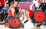 Lima, Peru -  23/August/2019 -  Zachary Madell (#33) does postgame pushups as Canada takes on Argentina in wheelchair rugby at the Parapan Am Games in Lima, Peru. Photo: Dave Holland/Canadian Paralympic Committee.