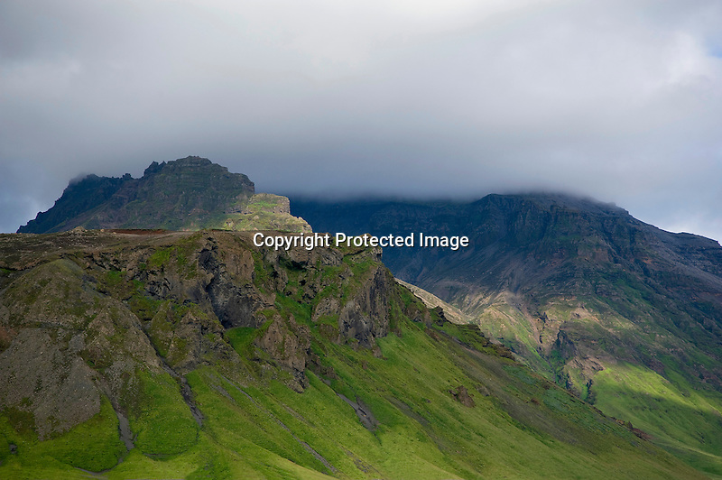 Craggy Mountains and Clouds near Selfoss on the South Coast of Iceland