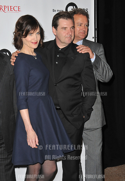 Elizabeth McGovern & Brendan Coyle & Hugh Bonnevile at photocall for the third series of Downton Abbey at the Beverly Hilton Hotel..July 22, 2012  Los Angeles, CA.Picture: Paul Smith / Featureflash
