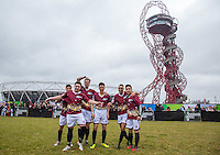 The Apprentice 2015 team pose for a photo during the SOCCER SIX Celebrity Football Event at the Queen Elizabeth Olympic Park, London, England on 26 March 2016. Photo by Andy Rowland.