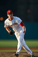 Bob Wheatley #27 of the USC Trojans pitches against the Oregon Ducks at Dedeaux Field on March 15, 2013 in Los Angeles, California. (Larry Goren/Four Seam Images)