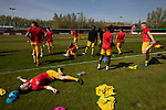 The visiting players warming up before Ilkeston Town host Walsall Wood in a Midland Football League premier division match at the New Manor Ground, Ilkeston. The home team were formed in 2017 taking the place of Ilkeston FC which had been wound up earlier that year. Watched by a crowd of 1587, their highest of the season, the match was top versus second, however, the visitors won 4-0 and replaced their hosts at the top of the division on goal difference with two matches to play