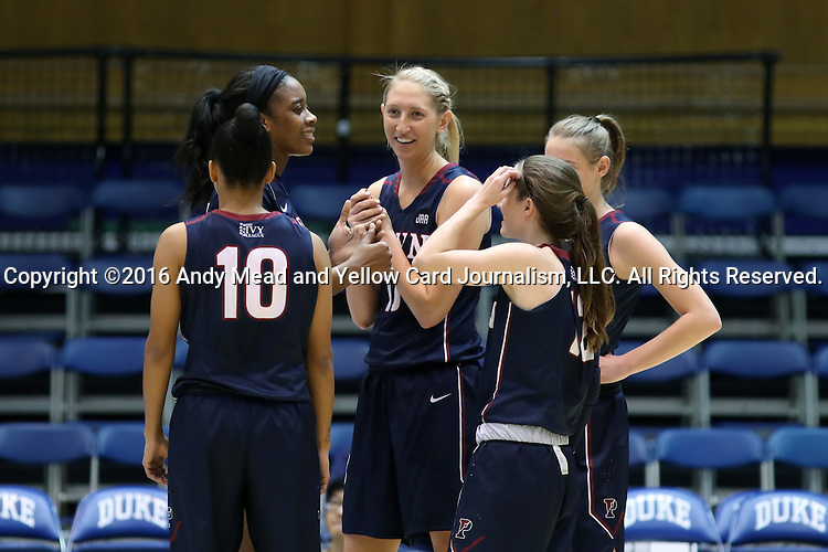 13 November 2016: Penn's Sydney Stipanovich (center) and her teammates huddle during a break. The Duke University Blue Devils hosted the University of Pennsylvania Quakers at Cameron Indoor Stadium in Durham, North Carolina in a 2016-17 NCAA Division I Women's Basketball game. Duke defeated Penn 68-55.