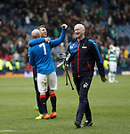 Davie Lavery with Harry Forrester's crutches