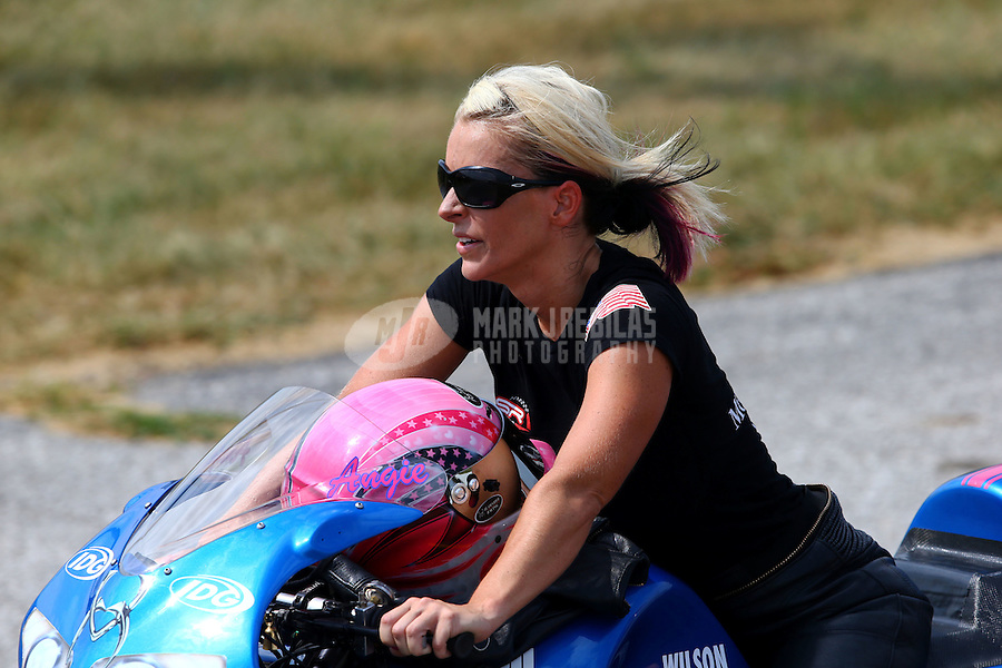 Aug. 31, 2013; Clermont, IN, USA: NHRA pro stock motorcycle rider Angie Smith during qualifying for the US Nationals at Lucas Oil Raceway. Mandatory Credit: Mark J. Rebilas-
