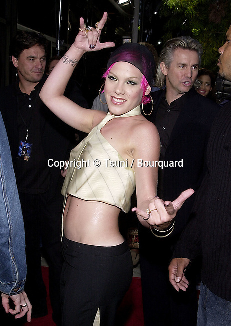 Pink arriving at the premiere of MOULIN ROUGE at the Academy of Motion Picture in Los Angeles  wednesday 5/16/2001 © Tsuni          -            Pink07.jpg