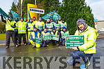 Mike Fleming and staff from Liebherr picketing outside the plant on Wednesday
