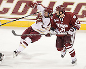 Johnny Gaudreau (BC - 13), Patrick Kiley (UMass - 21) - The Boston College Eagles defeated the University of Massachusetts-Amherst Minutemen 3-2 to take their Hockey East Quarterfinal matchup in two games on Saturday, March 10, 2012, at Kelley Rink in Conte Forum in Chestnut Hill, Massachusetts.