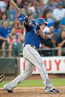"Texas Rangers center fielder Josh Hamilton #32 swings during the MLB exhibition baseball game against the ""AAA"" Round Rock Express on April 2, 2012 at the Dell Diamond in Round Rock, Texas. The Rangers out-slugged the Express 10-8. (Andrew Woolley / Four Seam Images)."