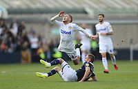 Leeds United's Samu Saiz is challenged by Millwall's Jed Wallace<br /> <br /> Photographer Rob Newell/CameraSport<br /> <br /> The EFL Sky Bet Championship - Millwall v Leeds United - Saturday 15th September 2018 - The Den - London<br /> <br /> World Copyright &copy; 2018 CameraSport. All rights reserved. 43 Linden Ave. Countesthorpe. Leicester. England. LE8 5PG - Tel: +44 (0) 116 277 4147 - admin@camerasport.com - www.camerasport.com