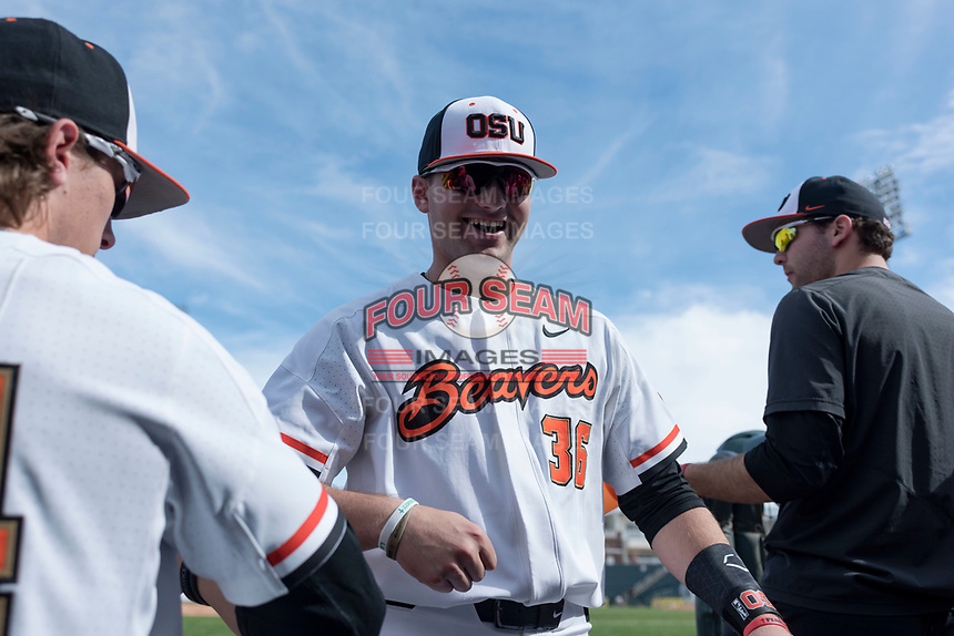 Oregon State Beavers outfielder Greg Fuchs (36) during a game against the New Mexico Lobos on February 15, 2019 at Surprise Stadium in Surprise, Arizona. Oregon State defeated New Mexico 6-5. (Zachary Lucy/Four Seam Images)