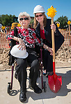 Ina Porter poses for a photograph with Jennifer Day during a groundbreaking ceremony at Wharton PK-8 Dual Language Academy, May 5, 2017. Porter began her schooling at age 4 in 1930, at Wharton.