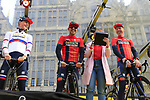 Slovenian National Champion Matej Mohoric (SLO), Sonny Colbrelli (ITA) and Marcel Sieberg (GER) Bahrain-Merida on stage at the team presentation in Antwerp before the start of the 2019 Ronde Van Vlaanderen 270km from Antwerp to Oudenaarde, Belgium. 7th April 2019.<br /> Picture: Eoin Clarke | Cyclefile<br /> <br /> All photos usage must carry mandatory copyright credit (&copy; Cyclefile | Eoin Clarke)