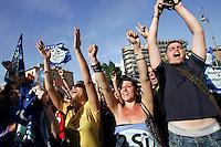 .Roma 13/06/2011 Festeggiamenti dei sostenitori del Referendum in Piazza Bocca della verita' in seguito al raggiungimento del quorum e alla vittoria dei si..Photo Samantha Zucchi Insidefoto