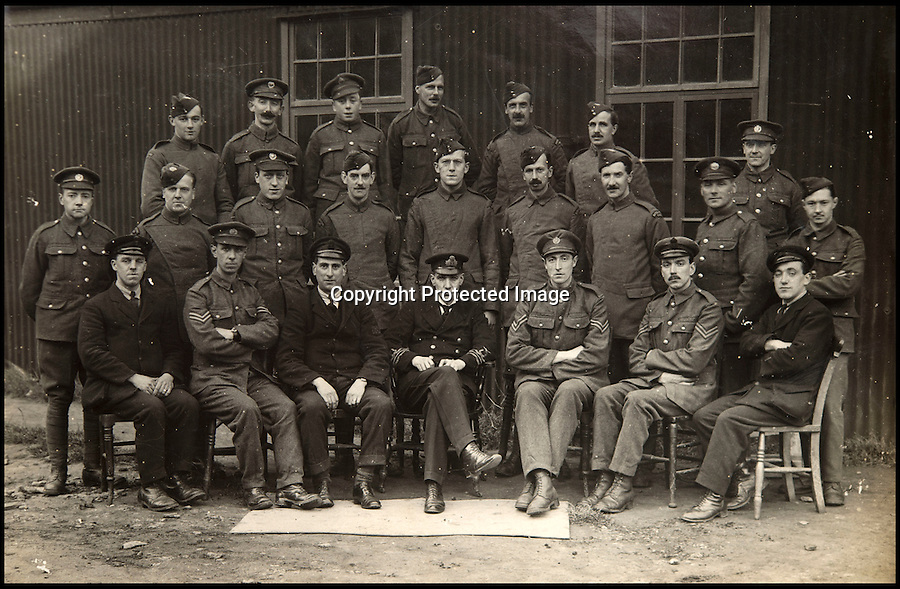 BNPS.co.uk (01202 558833)<br /> Pic: C&TAuctions/BNPS<br /> <br /> This picture is thought to show pilots and instructors at Cranwell.<br /> <br /> Those not so magnificent men in their flying machines...<br /> <br /> A newly discovered album of of photographs from the First War illustrates the difficulties and dangers of the earliest days of flight.<br /> <br /> Thought to have been collected by an unknown officer at the RNAS school of flying at Cranwell during the war, the album catalogues the thrills and spills of a time before health and safety.<br /> <br /> Multiple collisions, perilous carrier take off's, impacts with phone lines, random trees and even buildings are all featured - as well as a visit from the King and Queen.<br /> <br /> C&T auctions are selling the unique album on Wednesday 30th March.