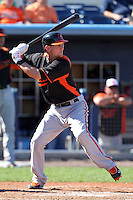 Baltimore Orioles catcher Caleb Joseph #72 during a spring training game against the Tampa Bay Rays at the Charlotte County Sports Park on March 5, 2012 in Port Charlotte, Florida.  (Mike Janes/Four Seam Images)