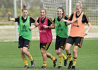 20180306 - LARNACA , CYPRUS :  Belgian Yana Daniels , Maud Coutereels , Nicky Van Den Abbeele and Justine Vanhaevermaet (r) pictured during a Matchday -1 training from The Belgian Red Flames prior to their game against South Africa , on tuesday 6 March 2018 at the Alpha Sports Grounds in Larnaca , Cyprus . This will be the final game for Belgium during the Cyprus Womens Cup for a battle for the 5th place , a prestigious women soccer tournament as a preparation on the World Cup 2019 qualification duels. PHOTO SPORTPIX.BE | DAVID CATRY