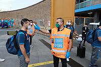 13th June 2020; Stadio San Paolo, Naples, Campania, Italy; Coppa Italia Football, Napoli versus Inter Milan; A photographer has his temperature taken before entry