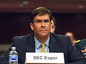 "Mark T. Esper, Secretary of The United States Army, appears before the US Senate Committee on Armed Services to give testimony ""on the posture of the Department of the Army in review of the Defense Authorization Request for Fiscal Year 2019 and the Future Years Defense Program"" on Capitol Hill in Washington, DC on Thursday, April 12, 2018.<br /> Credit: Ron Sachs / CNP"