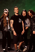 Pantera - L-R: Rex Brown, Phil Anselmo, Vinnie Paul, 'Dimebag' Darrell Abbott - photosession in London UK - 1991.  Photo credit: Ray Palmer Archive/IconicPix