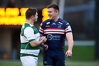 Alun Walker of Ealing Trailfinders chats with Ollie Stedman of Doncaster Knights after the match. Greene King IPA Championship match, between Ealing Trailfinders and Doncaster Knights on February 9, 2019 at the Trailfinders Sports Ground in London, England. Photo by: Patrick Khachfe / Onside Images