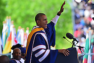 Washington, DC - May 7, 2016: U.S. President Barack Obama waves to the audience at the conclusion of his keynote address at Howard University's 148th Commencement Convocation May 7, 2016. Obama, who also received an honorary Doctor of Sciences degree, is the sixth sitting U.S. president to deliver the commencement address at Howard.  (Photo by Don Baxter/Media Images International)
