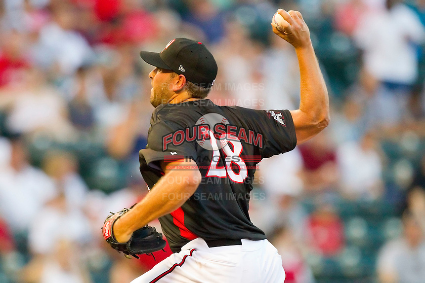 Starting pitcher Daryl Maday #28 of the Richmond Flying Squirrels in action against the Harrisburg Senators in game two of a double-header at The Diamond on July 22, 2011 in Richmond, Virginia.  The Senators defeated the Flying Squirrels 1-0.   (Brian Westerholt / Four Seam Images)