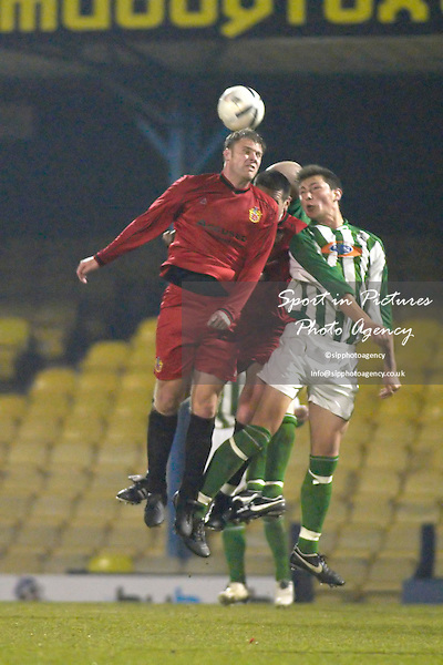 Kris Lee and Jim McFarlane double up on James White. AFC Hornchurch Vs Great Wakering Rovers (27/03/2007) - Essex Senior Cup Final