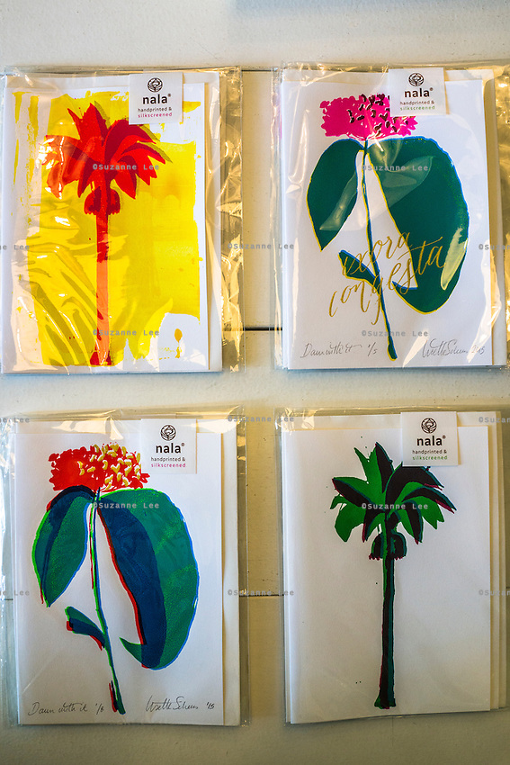 Greeting cards from the 'Daun With It' collection on display in Nala Designs in Bangsar, Kuala Lumpur, Malaysia, on 18 August 2015. Nala Designs, by founder and designer Lisette Scheers, is inspired by Malaysia's melting pot of Chinese, Malay and Indian cultures. Photo by Suzanne Lee for Monocle