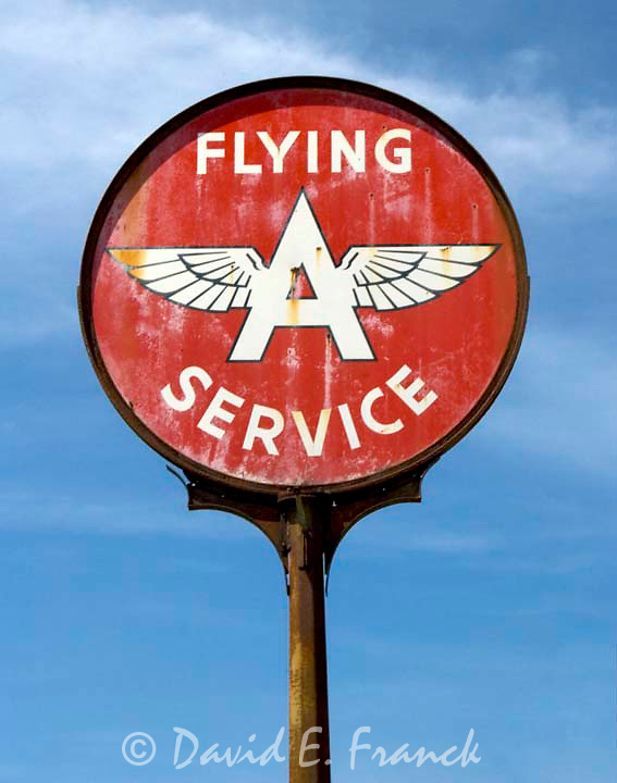 Old Flying A Service Station sign at an old gas station in rural NC