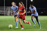 Piscataway, NJ - Sunday Sept. 25, 2016: Sarah Killion, Tobin Heath, Maya Hayes during a regular season National Women's Soccer League (NWSL) match between Sky Blue FC and the Portland Thorns FC at Yurcak Field.