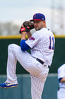 Iowa Cubs pitcher Matt Carasiti (11) delivers a pitch between innings during a Pacific Coast League game against the San Antonio Missions on May 2, 2019 at Principal Park in Des Moines, Iowa. Iowa defeated San Antonio 8-6. (Brad Krause/Four Seam Images)