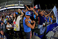 Carson, CA - Saturday August 12, 2017: New York City FC fans during a Major League Soccer (MLS) game between the Los Angeles Galaxy and the New York City FC at StubHub Center.