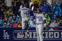 Enrique Hernandez de los Dodgers conecta cuadrangular, durante el partido de beisbol de los Dodgers de Los Angeles contra Padres de San Diego, durante el primer juego de la serie las Ligas Mayores del Beisbol en Monterrey, Mexico el 4 de Mayo 2018.<br /> (Photo: Luis Gutierrez)