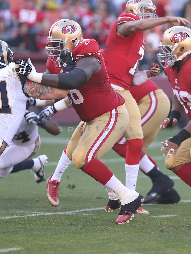 San Francisco 49ers Anthony Davis (76) during a game against the St. Louis Rams on December 1, 2013 at Candlestick Park in San Francisco, CA. The 49ers beat the Rams 23-13.